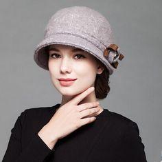 Fashion womens flower beret hat for winter wool bucket hats