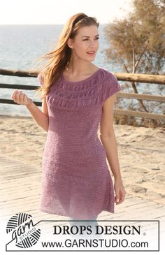 "DROPS tunic in ""Lin"" with shirred pattern on yoke. Size S to XXXL. - Free pattern by DROPS Design"