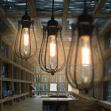 Modern Rustic Vintage Cage Metal Pendant Light Ceiling Fixture Lamp Edison Bulb