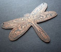 hand-etched onto copper cutout #etch
