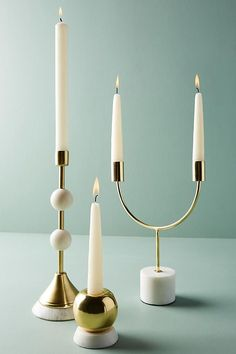 Slide View: 2: Marble Double Candelabra