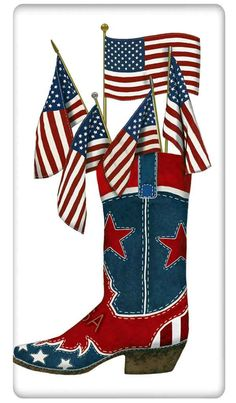 American Flag Cowboy Boot - A Love Of Dish Towels – A Love of Dish Towels - a nod to nostalgia