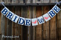 Nautical  Bridal Shower, Bride To Be Banner Sign Garland in Navy Blue, Gray and Coral Love birds - by PennyLine
