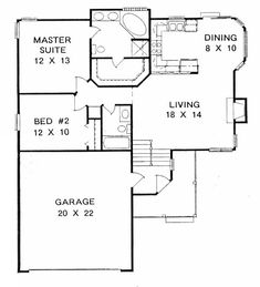 First Floor Plan of Traditional   House Plan 62505