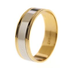 Simon G 14K Two Tone 6 MM White And Yellow Gold Wedding Band With Satin High Polish Center Finish