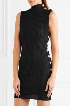 Balmain | Ribbed stretch-knit mini dress | NET-A-PORTER.COM