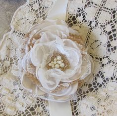 Wedding Wrist or Pin Corsage Burlap and by BurlapandBlingStudio