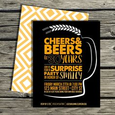 Birthday Invitation Digital Download - Cheers and Beers to 30 Years   IdaClaireDesigns.com