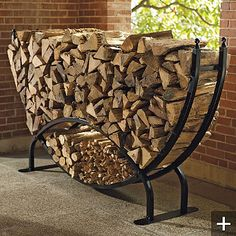 Steel Log Racks - traditional - fireplace accessories - - by FRONTGATE Outdoor Firewood Rack, Firewood Holder, Indoor Firewood Storage, Into The Woods, Log Holder, Traditional Fireplace, Traditional Homes, Fireplace Accessories, Welding Projects