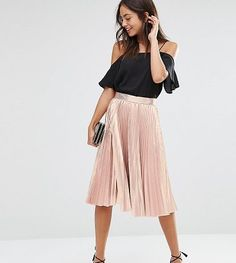 "Closet Pleated Metallic Midi Skirt by Closet London. """"Midi skirt by Closet, Pleated woven fabric, Metallic finish, Fitted waistband, Zip back fastening, Loose fit - falls loosely over the body, Dry clean, 83% Polyester, 17% Lurex, Our model wears a UK 8/EU 36/US 4 and is 173cm/5'8"" tall, ... #closetlondon #skirts"