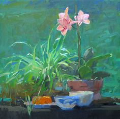 Orchid on green 24x24sm