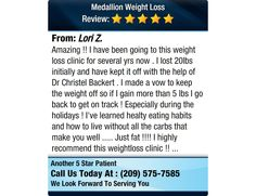 Amazing !! I have been going to this weight loss clinic for several yrs now . I lost 20lbs...