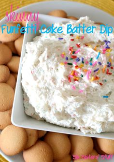 """Skinny Funfetti Cake Batter Dip. This dip contains 105 calories for 1/4 cup!  Not bad for a tasty dessert."" This stuff is SO DELICIOUS!"