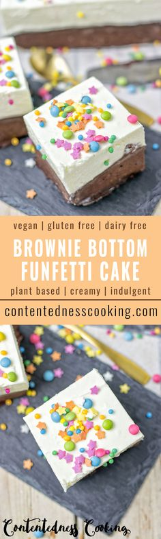 Make this amazing Oreo Brownie Bottom Funfetti Cake. It is vegan, gluten free, and totally addictive. Beautiful party food, perfect for birthdays, and a highlight for any type of celebration. Made dairy free by using coconut milk, plant-based cream cheese, and raw cacao.