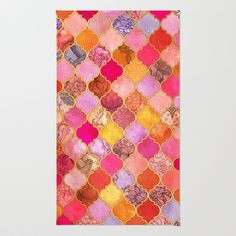 Hot Pink, Gold, Tangerine & Taupe Decorative Moroccan Tile Pattern Area & Throw Rug