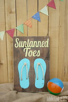 Rustic Beach Art {Guest Post at I Heart Naptime} - love the rope in the flip flops! Beach Themed Crafts, Beach Crafts, Summer Crafts, Diy Crafts, Summer Art, Summer Ideas, Pallet Art, Pallet Signs, Diy Signs