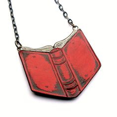 Open Book Necklace   Rust Red Book Necklace  by blockpartypress