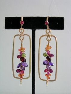 Wonder Jewels...Gold filled Framed Multi Gemstone Signature