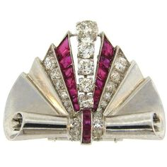 1930s Van Cleef Arpels Diamond Ruby Platinum Clip Pin Brooch VCA ($15,965) ❤ liked on Polyvore featuring jewelry, brooches, art deco diamond jewelry, art deco jewelry, ruby brooch, ruby jewellery and van cleef arpels jewelry