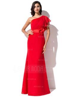 Sheath/Column One-Shoulder Floor-Length Chiffon Evening Dress With Flower(s) Cascading Ruffles (017041074)