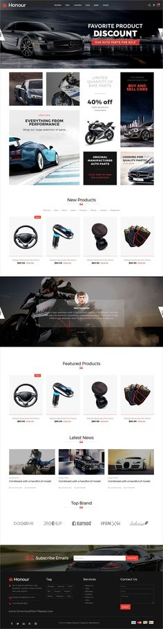 Honour is a clean and modern design responsive #HTML5 bootstrap template for stunning #gear #automobile eCommerce website with 5 homepage layouts download now➩ https://themeforest.net/item/honour-responsive-multipurpose-ecommerce-html5-template/19441608?ref=Datasata