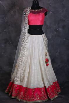 Buy Pink And Brown Tafetta Silk Plain Border Work Semi Stitched Lehenga online in India at best price. Half Saree Lehenga, Lehnga Dress, Indian Lehenga, Red Lehenga, Indian Gowns, Indian Attire, Indian Wear, Baby Lehenga, Lehenga Wedding