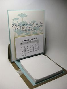Easel Calendar--I'm going to make this & scrapbook the pages. I haven't read the directions yet, but couldn't the pages be envelopes for a neat way to keep your pictures with the date?