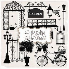 Freebies Kit of Garden Silhouettes  (all sorts of free printable digital elements)