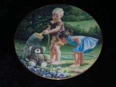 "1990 River Shore Delights of Childhood ""Shower Time"" Collector Plate by Jim Lamb…"