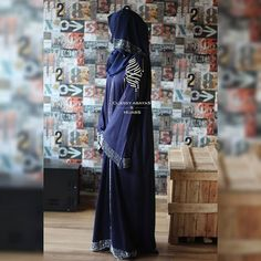 Blue abaya with stones Material : Nida Rate : 2900 Model Photographer Maxi Skirts, Maxi Dresses, Wedding Dresses, Blue Abaya, Madina, Hindus, Muslim, Nike Style, Women Wear