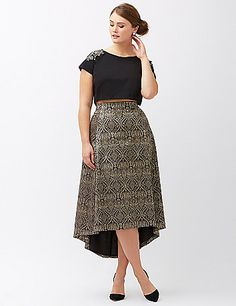 Metallic jacquard keeps the drama turned up on this high-low skirt by Lela Rose. Satin lined. Back zipper with hook & eye closure. lanebryant.com