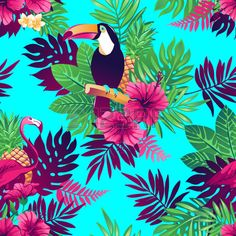 Tropical Trendy Seamless Pattern With Toucans, Flamingos, Exotic.. Royalty Free…