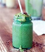 Mint Chip Smoothie ~  Ingredients 2 cups frozen spinach 2 cups frozen bananas 3 tbsp cacao nibs (roasted cocoa bean pieces) 2 tablespoons (packed) fresh mint leaves 1 teaspoon vanilla extract 2 cups rice milk ½ cup coconut water  Preparation 1. Blend all ingredients together until smooth. Taste and sweeten as desired.  Tip: For a superfood boost, add ¼ teaspoon chlorella powder. (Chlorella is a type of freshwater green algae that's rich in protein, vitamins and minerals.)