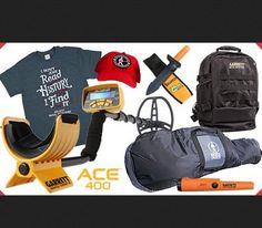 "Grand Prize is a $803.65 Garrett ACE 400 Metal Detector; Garrett Pro Pointer AT Pinpointer; Garrett Sport Daypack; Razor Edge Gator Digger with Sheath; Kellyco Deluxe Extra Long Padded Carry Bag; ""I Don't Just Ready History I Find It"" T-Shirt; and a..."