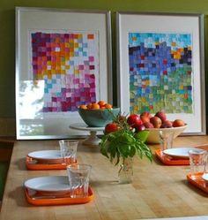 Decoração // Cozinha // DIY // Quadro com Retalho de Pano (ou papel) Colorido // Mesa para Refeições // Simples // Criativa