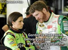 My two favorite NASCAR drivers; Danica Patrick and Dale Earnhardt Jr. not necessarily in that order. Nascar Quotes, Nascar Memes, Racing Quotes, Nascar Cars, Nascar Racing, Racing Baby, Auto Racing, Nascar Room, Drag Racing