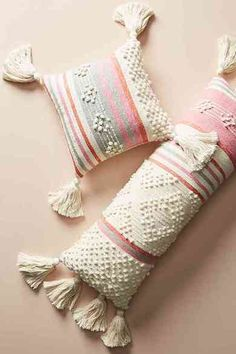Tasseled Maddie Pillow, presented by Anthropologie. Vibrant stripes and neutral tufting add charm and texture to this tasseled pillow. Rustic Pillows, Diy Pillows, Boho Pillows, Cushions, Throw Pillows, Boho Bedding, Luxury Bedding, Handmade Home Decor, Home Decor Items