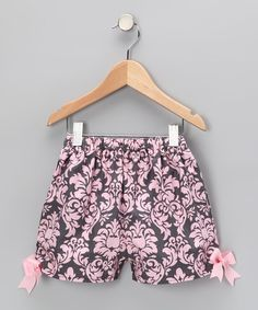 Gray & Pink Damask Shorts - Infant, Toddler & Girls by Waistin Away on #zulily