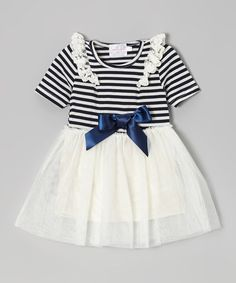 Take a look at this Blue & White Stripe Lace Dress - Infant, Toddler & Girls by Blossom Couture on #zulily today!