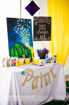 Painting activity at a Tangled party!  See more ideas at CatchMyParty.com! #partyideas #tangled