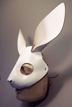 ca7003e50bc964 leather rabbit head mask Alice Costume, Rabbit Costume, Bunny Costume, Half  Mask,