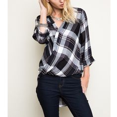 """Idiom"" Plaid Faux Wrap Top Plaid faux wrap top with tabbed sleeves. Brand new. True to size. NO TRADES. Bare Anthology Tops Blouses"