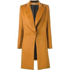 Bouchra Jarrar peaked laped buttoned coat (11.135 RON) ❤ liked on Polyvore featuring outerwear, coats, bouchra jarrar, orange coat and button coat