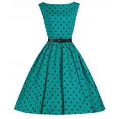 'Audrey' Turquoise Polka Dot Vintage 1950's Inspired Swing/Jive Dress