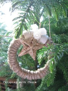 repurpose mason jar lids into beautiful twine wreath ornaments