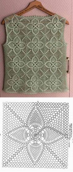 Lindas blusas feitas com quadrado de crochê ⋆ De Frente Para O Mar - Dress - Débardeurs Au Crochet, Crochet Bolero Pattern, Crochet Cape, Mode Crochet, Black Crochet Dress, Crochet Diagram, Crochet Stitches Patterns, Crochet Cardigan, Doilies Crochet