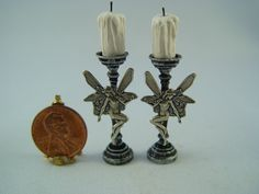 Dollhouse Miniature Handmade Pair of  Fairy, Fae Candlesticks Gothic, Witch,