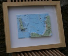 Hand cut 3D nautical chart of Hartland Peninsula and Lundy Island   made to order