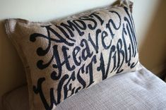 Quincy Burlap Pillow - Almost Heaven, West Virginia on Etsy, $32.00