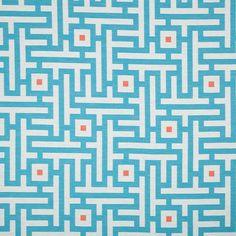 Turquoise Orange Geometric Upholstery Fabric for Furniture - Modern Blue Orange Curtain Material - Blue White Maze Design Fabrics Online Geometric Patterns, Geometric Fabric, Fabric Patterns, Orange Curtains, Orange Fabric, Blue Fabric, Orange And Turquoise, Blue Orange, Blue And White